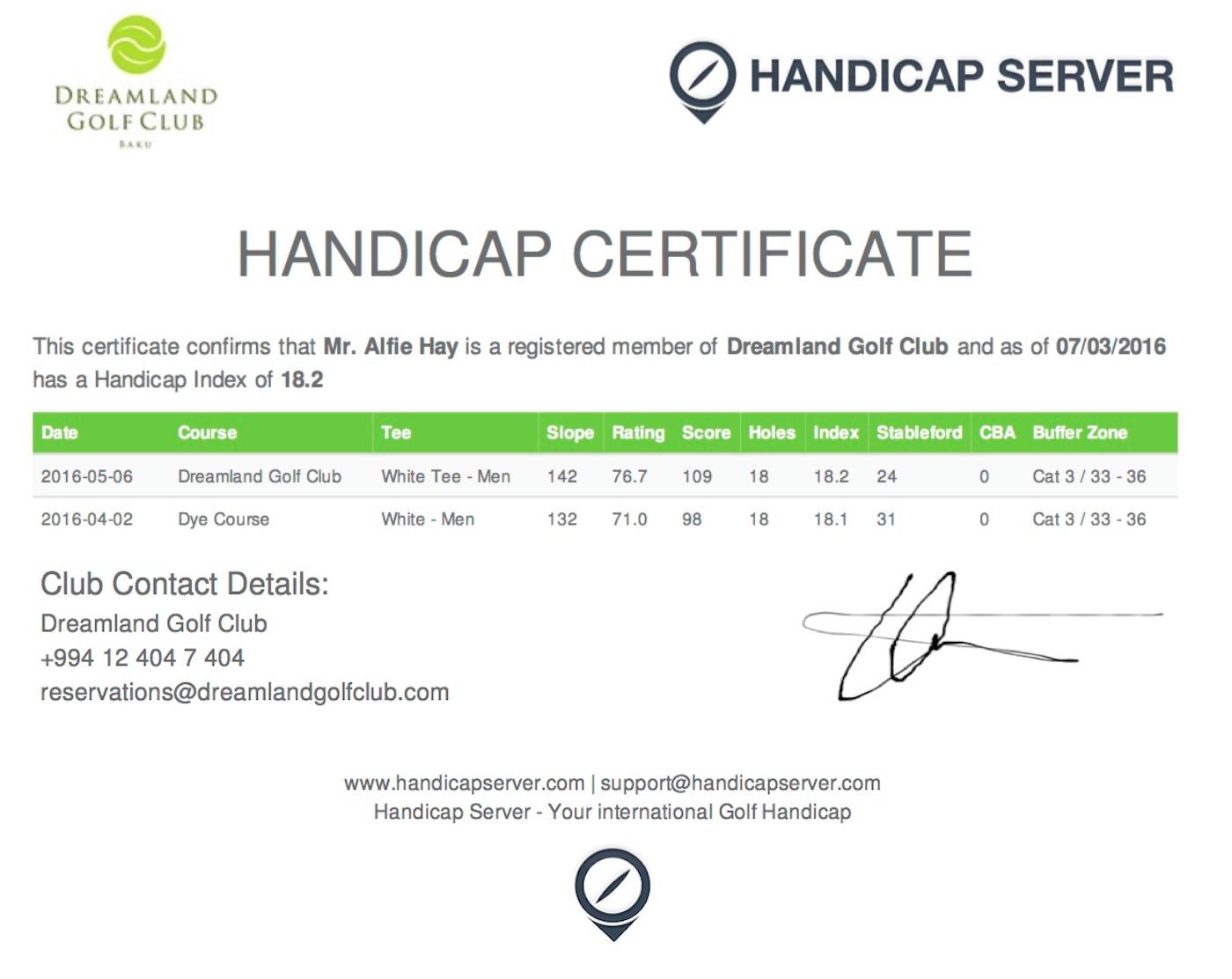 Handicap certificates